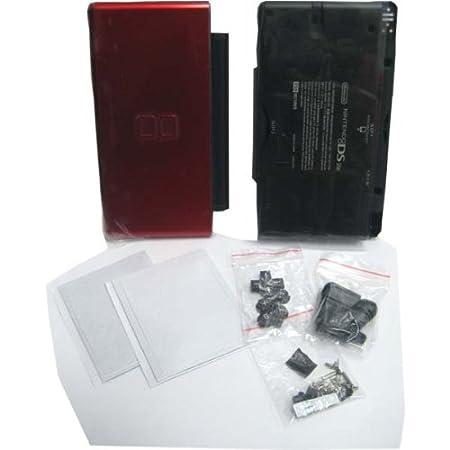 Crimson Red & Black - Nintendo DS Lite Complete Full Housing Shell Case Replacement Repair w/ Hinge Set