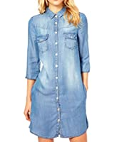 Amybria Denim Blue Button Moitie Manches Revers Shirt Dress