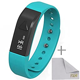 EFO-S K5 Wireless Activity Sleep Monitor Pedometer Smart Fitness Tracker Wristband Watch Bracelet for Men Women Boys Girls Man iPhone 6 Plus 5S 5C 5,Galaxy S6 S5 S4,Note 4 3,HTC One 2,LG G3 (Blue)
