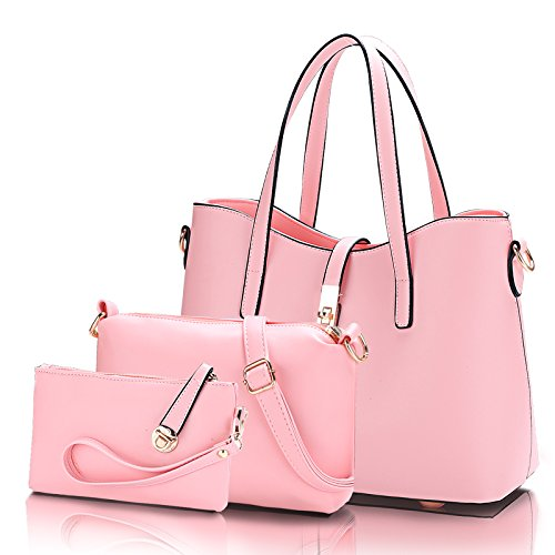 Uno spallamento di tendenza di moda di Lady bun borsa messenger bag,rosa pallido