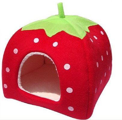 Strawberry Small Cotton Soft Dog Cat Pet Bed House S/m/l/xl (25x25x27cm))(Red, S)