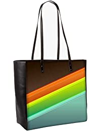 Set Of Colorful Strips Obo, Shoulder Bag Tote Faux Leather Handbag Satchel Tote