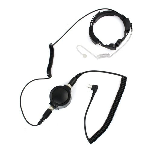 Professional Tactique Military Police Fbi Bodyguard Flexible Throat Mic Microphone Large Ptt Covert Acoustic Tube Earpiece Headset For 2-Pin Motorola Radio Cp040 Cp200 Xtni Dtr Vl50