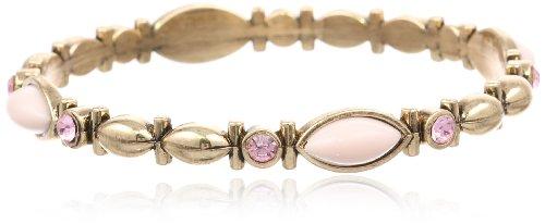 "1928 Jewelry ""Confetti"" Gold-Tone Light Rose Bangle Bracelet, 7″"