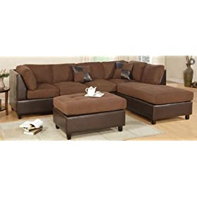 Sofa Sectional Set (Chaise Right) with Ottoman in Chocolate - F7621