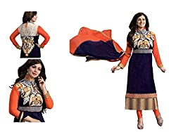 Rudraksh Fashion dark blue cotton dress material (ayesha_blue_backwork)