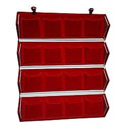 Aglare Red Velvet Folding 16 Earrings Organizer Box (Red)