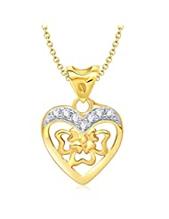 Vina Blissful Heart Shape Gold And Rhodium Plated Pendant - P1159G [VKP1159G]