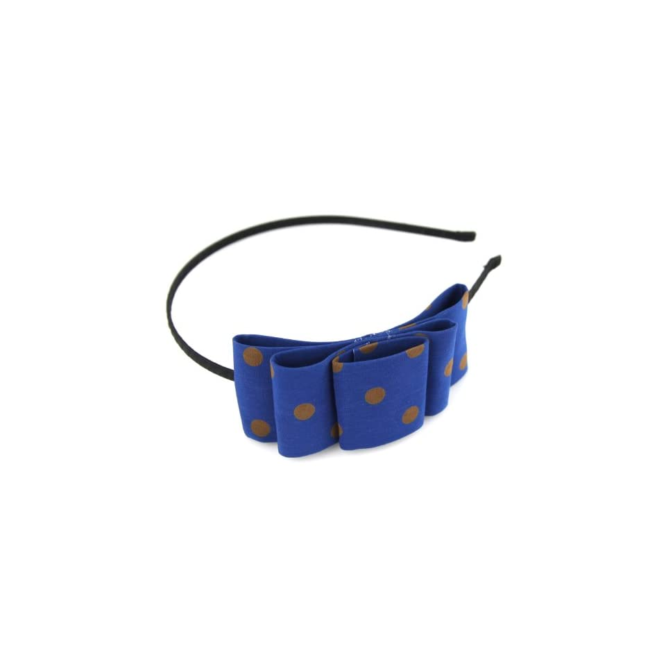 Royal Blue & Caramel Brown   Polka Dot   Asymetrical   Double Tier Bow   Wire Head Band With Black Ribbon   Hair Band