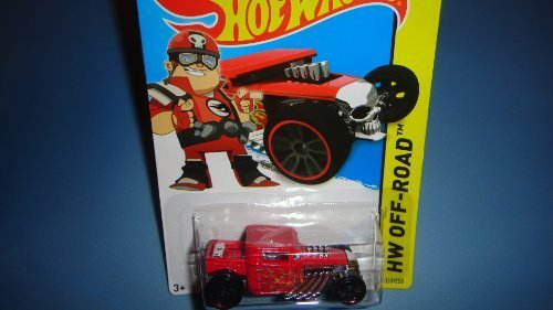 HOT WHEELS 2014 RELEASE TEAM HOT WHEELS RED DRIVER BONE SHAKER DIE-CAST, HOT WHEELS BONE SHAKER RED DRIVER OFF-ROAD DIE-CAST - 1