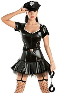 Escante Sexy Police Officer Cop Shiny Tutu Womens Halloween Costume Small from ESC