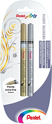 pentel-lot-de-2-marqueurs-permanents-pointe-extra-fine-or-et-argent