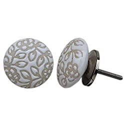 Set of 2 Pieces Handmade Ceramic White Etched Flat Cabinet Knob Furniture Handle Cupboard Drawer Pull
