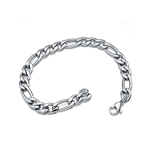 Jewelry Polished Silver Stainless Steel Figaro Mens Bracelet With Lobster Lock Clasp