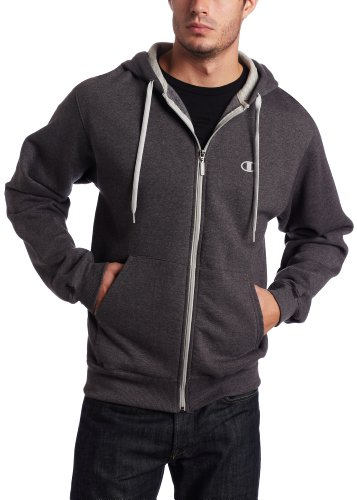 Champion Men's Champion Eco Fleece Full Zip Hoodie, Granite Heather, Medium