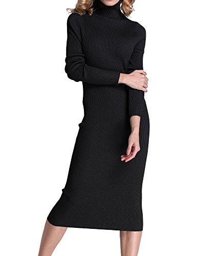 Roco roca Women's Turtleneck Ribbed Elbow Long Sleeve Knit Sweater Dress RRW1520141z3-XL