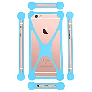 Casotec Universal Silicone Bumper Frame Soft Gel Phone Case Cover for Lenovo S860 - Sky Blue