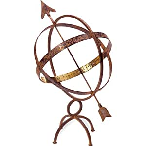 Rome 1322 Wrought Iron Armillary Sphere/Sundial, Hammered Antique Copper Finish, 18-Inch Height by 11.5-Inch Sphere Diameter (Discontinued by Manufacturer)