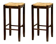 Bar Stool, 29-Inch Rush Seat Walnut F…