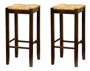 Bar Stool, 29-Inch Rush Seat Walnut Finish Set of 2 by Winsome