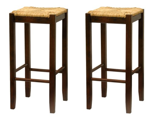 Bar Stool, 29-Inch Rush Seat Walnut Finish Set of 2