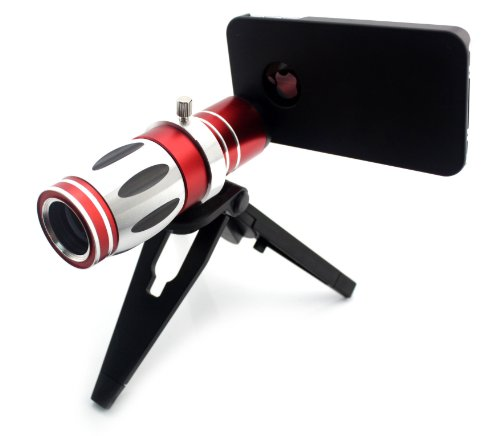 Big Dragonfly New Arrvial Unviersal Mobile Phone Zoom Lens 17X Magnification Telephoto Lens With 1 Mini Tripod, 1 Holder, 1 Phone Case, 1 Cleaning Cloth And 1 Pouch Two Black Protectvie Lens Caps 6 Degree Angle Of View For Iphone 5 5S Retail Package (Blac