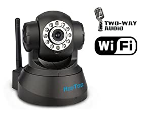 HooToo® HT-IP206 Wired/Wireless M-JPEG Network IP Camera with Precision Pan/Tilt Capabilities, Built-in Mic & Speaker, 10-LEDs Day/Night Surveillance Camera for Indoor Uses, Black