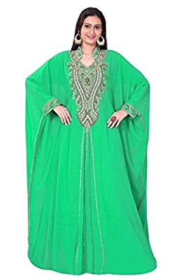 Trendyfashionmall women's Georgette Kaftan Abaya with Stone and Bead Work