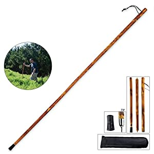 "55"" 3-section Natural Wood Walking Hiking Stick Disassembles To 18"" Length For Easy Pack & Carry Includes Backpack Pouch Two Tips"