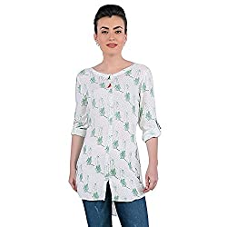 Funk For Hire Women Rayon Katputli printed Shirt Tunic (Off-White, Size L)