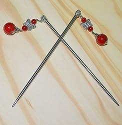 1 Pair Red Metal Chinese Hair Chopsticks