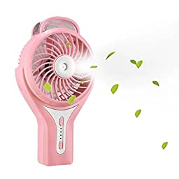 Momoday Brushless Handheld Portable Mini Misting USB Fan Cooling Humidifier Rechargeable Water Spray Fan (Pink)