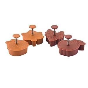 Paula Deen Signature Kitchen Tools 4-Piece Pie Press Cutters Set, Pumpkin, Maple, Holly and Apple