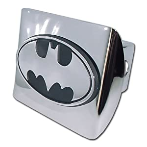 "Batman ""Bright Polished Chrome with ""3D Bat"" Emblem"" Metal Trailer Hitch Cover Fits 2 Inch Auto Car Truck Receiver from Elektroplate"