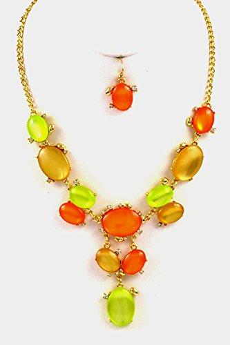Glitz Finery Oval Stone Linked Drop Crystal Necklace Set (Gold/Orange)