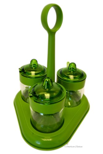 Glass & BPA free Green Plastic 3 Jam Jars Condiment Server Caddy with Spoons