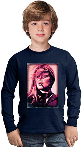 Brigitte Bardot Smoking Retro Amazing Kids Long Sleeved Shirt by True Fans Apparel - 100% Cotton- Ideal For Active Boys-Casual Wear - Perfect For A Present Unisex 9-11 years