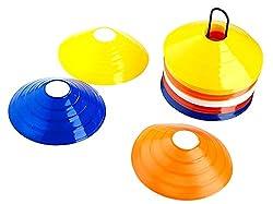 SAHNI SPORTS Plastic Training Saucer Cone Marker, Set of 40, Multi-Color