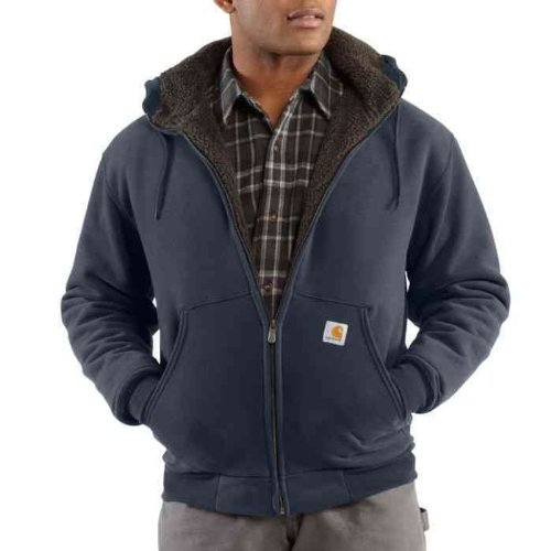 Carhartt Men'S Brushed Fleece Sherpa Lined Jacket Big And Tall Navy Xxxx-Large Tall