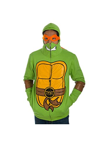 Adults TMNT Full Zip Hoodie Costume. Officially Licensed, S to XL