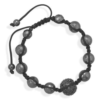 Adjustable Macrame Bracelet with Black CZ and Hematite