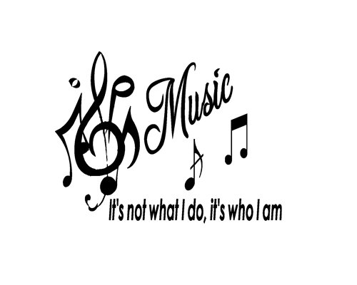 Music Is Not Vinyl Wall Quote Word Decal Dance Musical Notes Room Decor