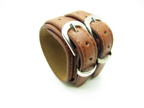 Brown Leather Bracelet Cuff Double Buckle Cool Bracelet Mens Bracelets Unisex Bracelet Womens Bracelet 799s