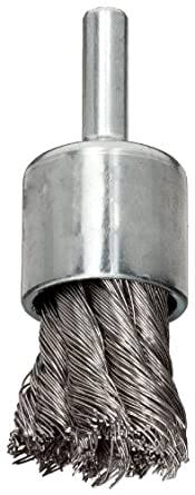 Weiler Wire End Brush, Hollow End, Round Shank, Stainless Steel 302, Partial Twist Knotted