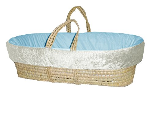 Baby Doll Croco Minky Moses Basket, Ivory/Blue - 1