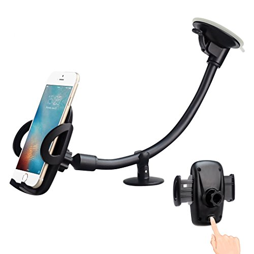 EXSHOW Universal Windshield Dashboard 12.0 inches Long Arm Car Phone Mount Holder with Easy Touch and Anti-skid Base for All 3.5-6 inches Cell Phones(Black)