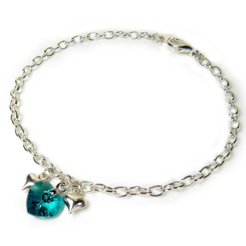 Anklet Ankle Bracelet with Teal Blue Swarovski Crystal Heart Assorted Lengths by Diosa Jewellery