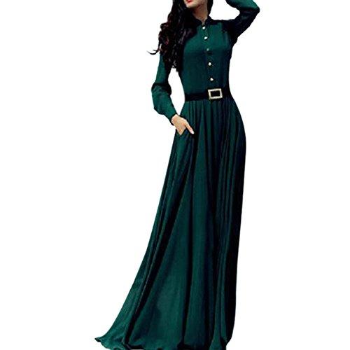 Soly Tech Vintage Kaftan Abaya Islamic Muslim Cocktail Womens Long Sleeve Maxi Dress