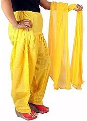 Tinnu G Women's Cotton Salwar and Dupatta Set (TGCSD1109_Yellow_Free Size)
