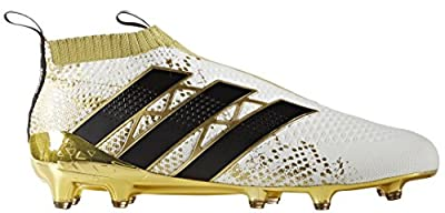 adidas Men's ACE 16+ PURECONTROL FG Soccer Cleats (White, Black, Gold)